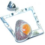 Mexican Fire Opal Hammered .925 Sterling Silver handmade Pendant