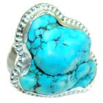 Green Turquoise .925 Sterling Silver handmade Ring s. 11