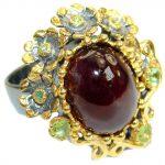 Genuine 45ct Garnet 14K Gold over .925 Sterling Silver handmade Ring size 7 adjustable