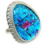 Dichroic Glass .925 Sterling Silver handmade ring size 9 1/2
