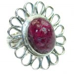 Simple Style Ruby .925 Sterling Silver ring; s. 7 1/2