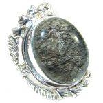 Huge Tourmalinated Quartz .925 Sterling Silver handmade Ring s. 7 1/4