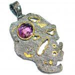 Vintage Design Genuine Amethyst .925 Sterling Silver handcrafted pendant