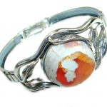 One of the kind Orange Mexican Fire Opal Oxidized .925 Sterling Silver handcrafted Bracelet