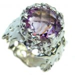 Ocean inspired Natural 21 ct. Amethyst .925 Sterling Silver Ring s. 7 1/2