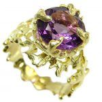 Ocean inspired Natural 21 ct. Amethyst .925 Sterling Silver Ring s. 7