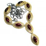 Vintage Design Genuine Garnet 14K Gold over .925 Sterling Silver handmade necklace