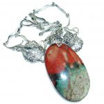 Huge Exclusive Sunrise Sonora Jasper .925 Sterling Silver handmade Necklace
