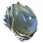 Huge Fire Labradorite .925 Sterling Silver handmade ring size 7 adjustable
