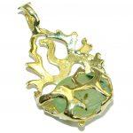 Ocean Reef Prehnite 14K Gold over .925 Sterling Silver handmade pendant
