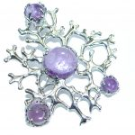Rich Design Natural Amethyst Rhodium over .925 Sterling Silver handmade Pendant