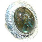 Fire Labradorite .925 Sterling Silver handmade ring size 7