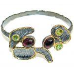 Dali World genuine Garnet 18K Gold over .925 Sterling Silver handcrafted Bracelet / Cuff