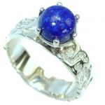 Ocean Inspired Lapis Lazuli .925 Sterling Silver handmade Cocktail Ring s. 8 1/4