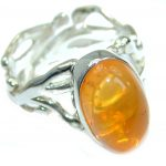 Genuine Mexican Opal .925 Sterling Silver handmade Ring size 7 adjustable