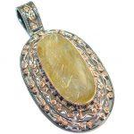 Vintage Style Himalayan Golden Rutilated Quartz .925 Sterling Silver Pendant