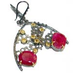 Unique Ruby Rhodium over .925 Sterling Silver handmade earrings