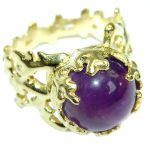 Ocean inspired Natural 21 ct. Amethyst .925 Sterling Silver Ring s. 8 1/4