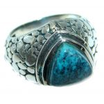 Genuine Turquoise .925 Sterling Silver handmade Ring s. 10 1/4