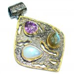 Vintage Style Beauty Genuine Multigem .925 Sterling Silver handcrafted Pendant