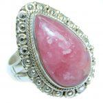 Vintage Look Rhodochrosite Sterling Silver handmade ring size 7 3/4