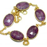 Flawless Passion Red Ruby Gold over .925 Sterling Silver handcrafted Bracelet