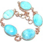 Genuine Larimar Rose Gold over .925 Sterling Silver handmade Bracelet