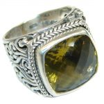 Bold Champagne Topaz .925 Sterling Silver Ring size 7