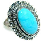Sleeping Beauty Turquoise .925 Sterling Silver Ring size 7 adjustable