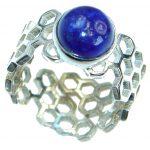 Ocean Inspired Lapis Lazuli .925 Sterling Silver handmade Cocktail Ring s. 6 adjustable