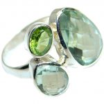 Natural Green Amethyst .925 Sterling Silver handmade Cocktail Ring s. 6 adjustable