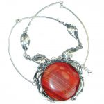 Huge Genuine Mexican Fire Agate oxidized .925 Sterling Silver handmade necklace