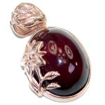 Beautiful genuine 60ct Garnet 18ct Rose Gold over .925 Sterling Silver handcrafted Pendant