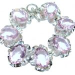 Huge Chic Oval Cut Princess Quartz .925 Sterling Silver handcrafted Bracelet