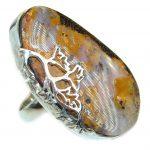 Huge Australian Boulder Opal .925 Sterling Silver handcrafted ring size 8