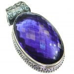 Simple Purple Topaz Quartz .925 Sterling Silver handmade Pendant