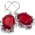 Perfect Red Quartz .925 Sterling Silver handmade earrings