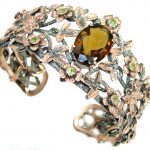 Enchanted Forest 35ct Smoky Topaz 14K Gold over .925 Sterling Silver Bracelet / Cuff