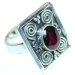 Bold Authentic Garnet .925 Sterling Silver handmade Statement Ring s. 8