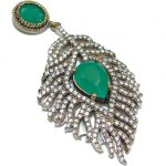 Unique design created Emerald .925 Sterling Silver handcrafted Pendant