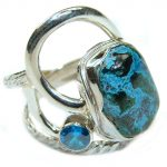 Azurite .925 Sterling Silver handmade Ring s. 7 3/4