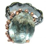 Natural Green Amethyst Gold over .925 Sterling Silver handmade Cocktail Ring s. 7 1/4