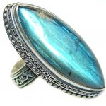 Large Fire Labradorite .925 Sterling Silver handmade ring size 8