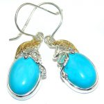 Precious genuine Turquoise two tones .925 Sterling Silver handmade earrings