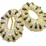 Fancy Design Pearl White Topaz Gold over .925 Sterling Silver earrings