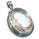 Royal Peachy Quartz .925 Sterling Silver handmade Pendant