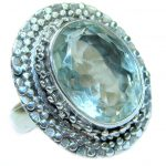 Natural Green Amethyst .925 Sterling Silver handmade Cocktail Ring s. 6 1/2