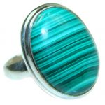 Natural Malachite .925 Sterling Silver handcrafted ring size 8