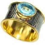 Energazing Swiss Blue Topaz .925 Sterling Silver handmade Ring size 8