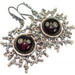 Authentic Garnet Rose 14K Gold Rhodium over .925 Sterling Silver handmade earrings